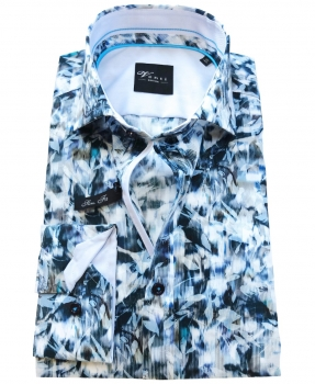 Venti Black Label Slim Fit Langarmhemd in blau weiss Floraldessin 182910400-100