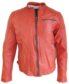 bruno banani Body Fit Lederjacke Vintage Modell XOM in orange 81710934561