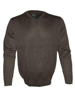 Ben Green V-Neck Pullover Classic in mocca 19300-33