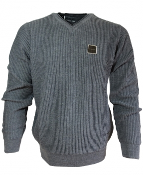 Maselli Stereo V-Neck Pullover Rippe in dunkelgrau 6402-95