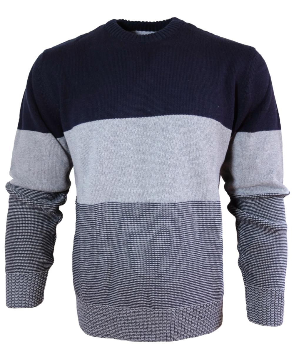 Original wählen Neuankömmling Luxus-Ästhetik Maselli Rundhals Strickpullover Luxury Cotton in dunkelblau grau 2948-624