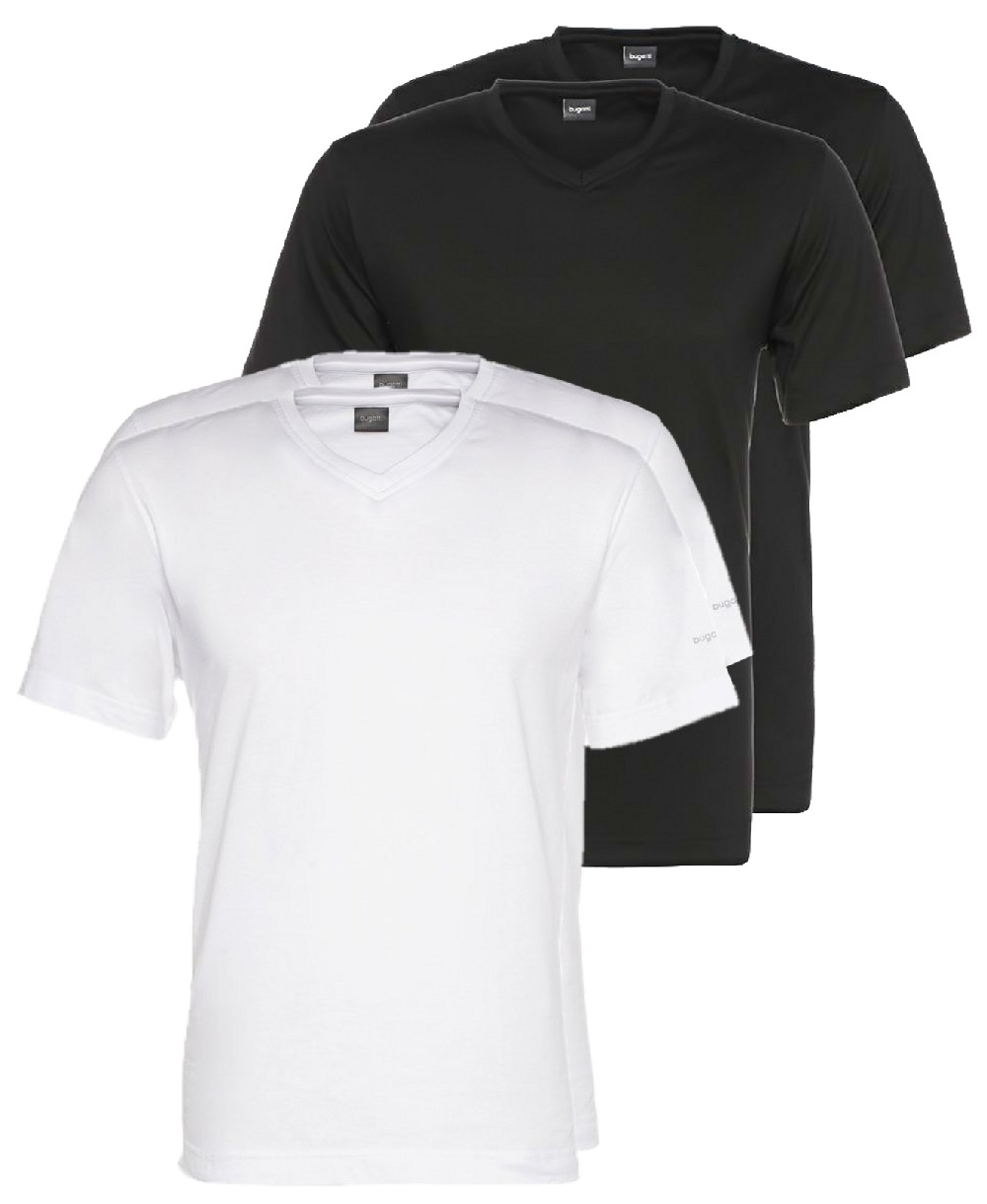 bugatti v neck t shirt doppelpack schwarz oder weiss 37246 hochwertige herrenmode f hrender. Black Bedroom Furniture Sets. Home Design Ideas