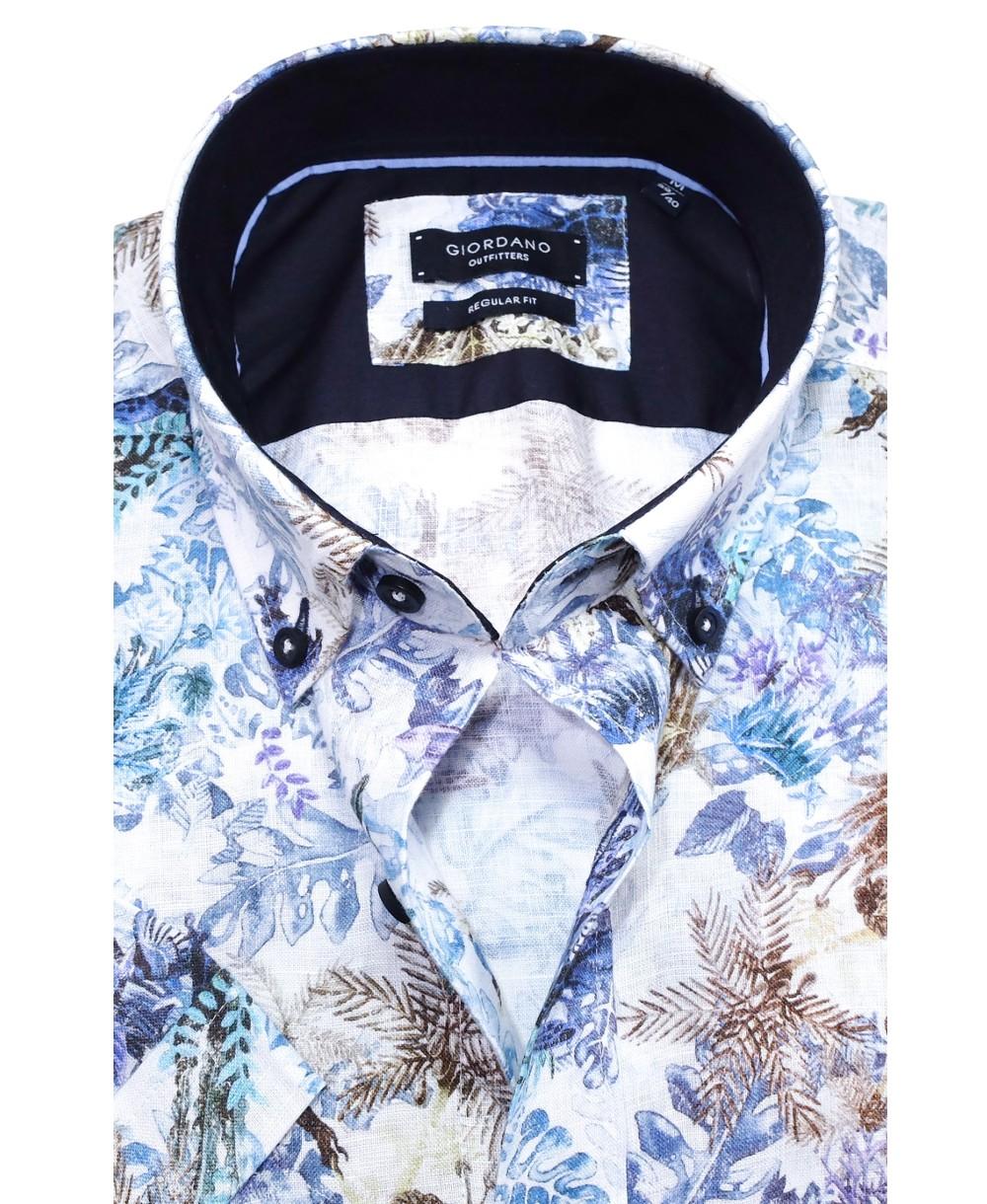 giordano kurzarm freizeithemd mit merresmotiv in weiss blau farbig 616051 63 hochwertige. Black Bedroom Furniture Sets. Home Design Ideas