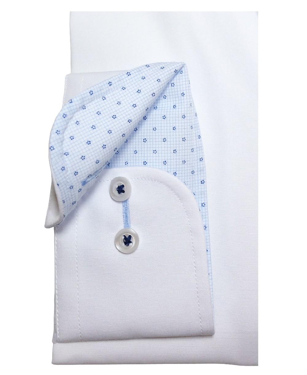 eterna Slim Fit Stretch weiss Patches in hellblau gemustert Langarmhemd 8581 00 F142